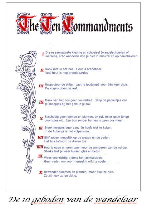 de 10 geboden van de wandelaar